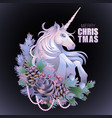 with unicorn and coniferous decorations vector image