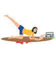 woman doing sport at home correspondence surfing vector image
