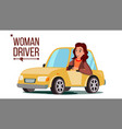 woman driver sitting in modern automobile vector image
