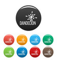 yellow dandelion logo icons set color vector image