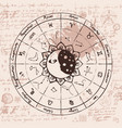 zodiac with the sun moon and constellations vector image vector image