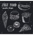 Hand drawn fastfood set Creative vector image