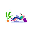 boy working on computer on relax mood vector image vector image