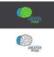 brain logo on black and white background vector image