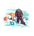 brave male adventurer on north pole vector image vector image