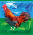 bright colorful rooster on a landscape background vector image