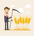 businessman harvesting a man in a suit is vector image vector image