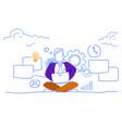 businessman sitting lotus using laptop hard vector image