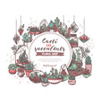 cacti and succulents shop hand drawn web banner vector image
