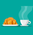 coffee cup and french croissant vector image vector image