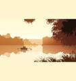 couple on lake against orange sunset vector image