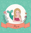 cute horoscope zodiac girl pisces vector image vector image