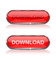 download button shiny red oval web icon vector image vector image