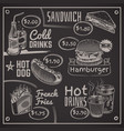 fast food menu coffee burger and hotdog donut vector image