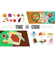 flat healthy food elements collection vector image