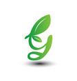 g green leaves letter ecology logo vector image