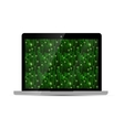 Glossy laptop with green matrix screen on white vector image