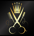 gold scissors and crown beauty salon symbol vector image vector image