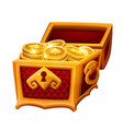 golden chest with coins vector image vector image