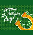 golden horseshoe clovers decoration card happy st vector image