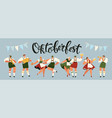 group of people drink beer oktoberfest party vector image