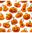 halloween pumpkin monster lantern seamless pattern vector image vector image