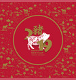 happy chinese new year 2019 card with pig chinese vector image vector image