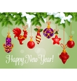 Happy New Year decorations greeting card vector image vector image