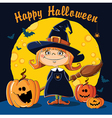 Little Witch with broom vector image vector image