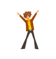 man in 1980s style clothes dancing disco at music vector image vector image