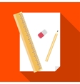 Paper pencil ruler and eraser icon vector image vector image