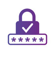 pin code and lock simple icon with checkmark vector image vector image
