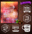 Premium coffee advertising poster and coffee beans vector image vector image