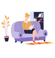 reading hoband leisure pastime woman on sofa vector image