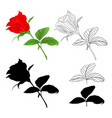 rosebud red natural and outline and silhouette vector image vector image