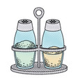 salt and pepper containers colored crayon vector image vector image
