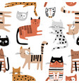 seamless childish pattern with hand drawn cats vector image vector image