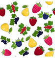 seamless pattern of juicy fruits and berries vector image vector image