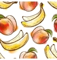Seamless pattern with peach and banana vector image vector image