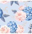 Seamless rose and hydrangea vector image