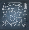 set hand drawn ecology icons on chalkboard vector image vector image