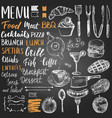 set hand drawn food elements hand lettering vector image