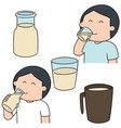 set of man drinking milk vector image