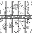 set of ten halloween monochrome silhouettes vector image
