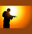 silhouette of a soldier vector image vector image