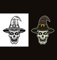 skull in witch hat in two styles black and colored vector image vector image