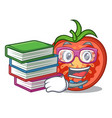 student with book red tomato slices isolated on vector image vector image