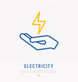 symbol of electricity in hand vector image vector image
