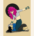 two women are fighting girl with pink hair beats vector image