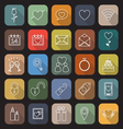 Valentines day line flat icons with long shadow vector image